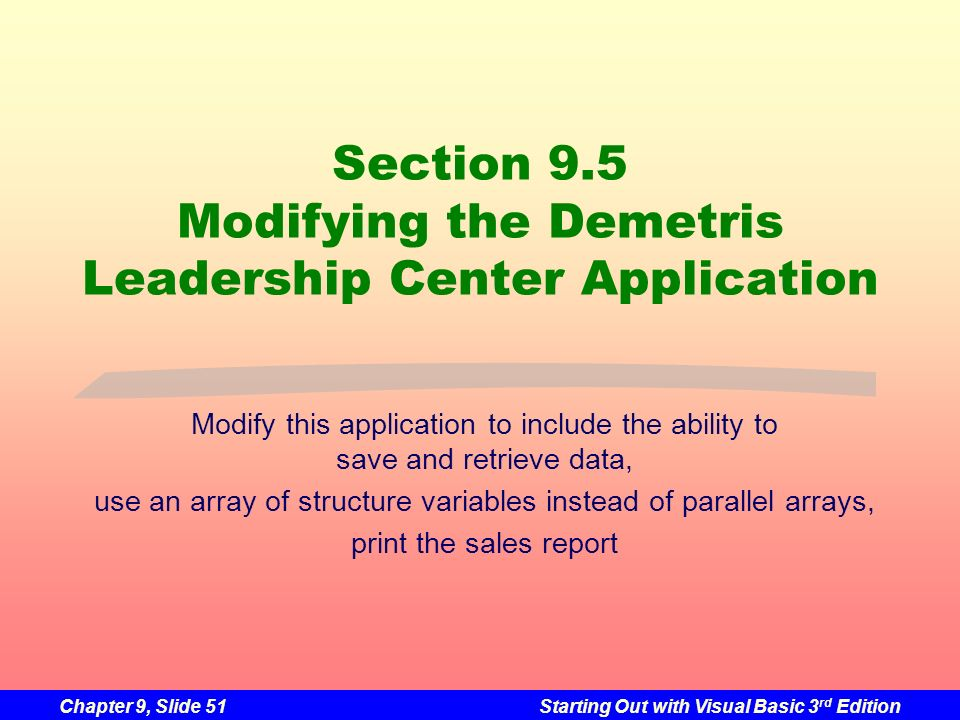 Section 9.5 Modifying the Demetris Leadership Center Application