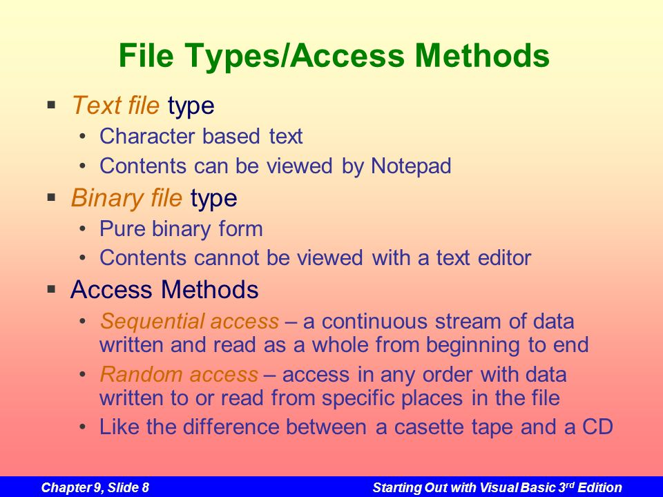 File Types/Access Methods