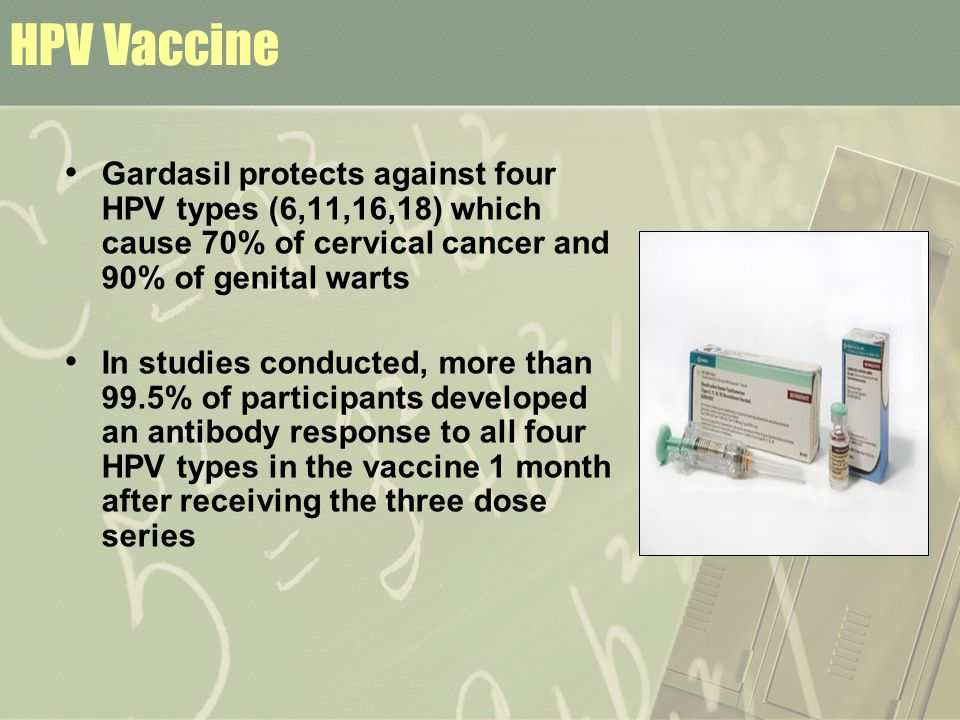 HPV Vaccine Gardasil protects against four HPV types (6,11,16,18) which cause 70% of cervical cancer and 90% of genital warts.