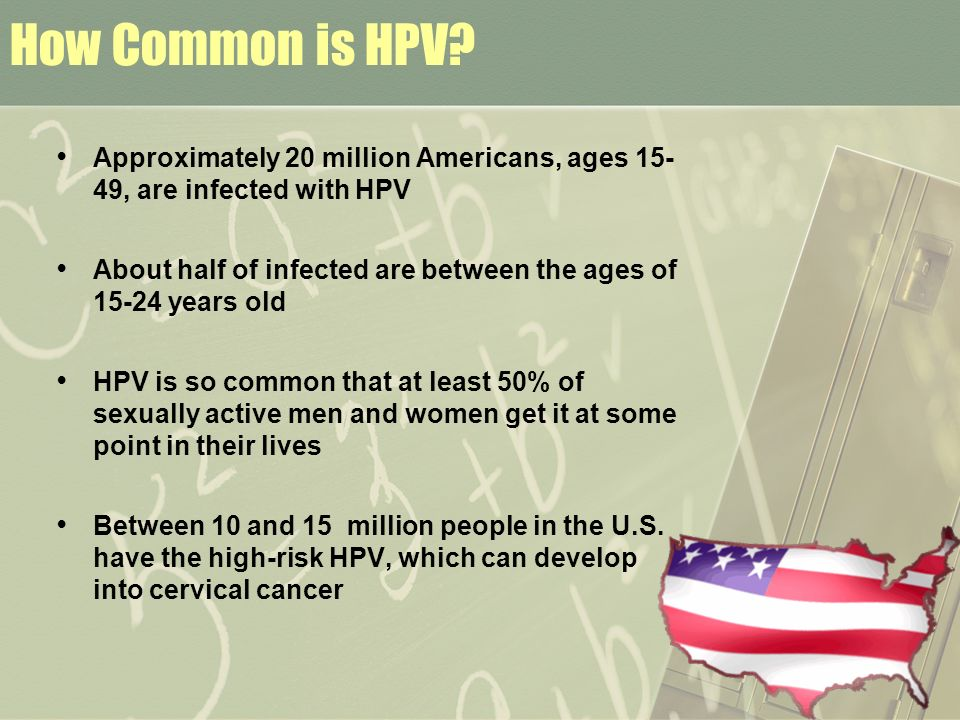 How Common is HPV Approximately 20 million Americans, ages 15- 49, are infected with HPV.
