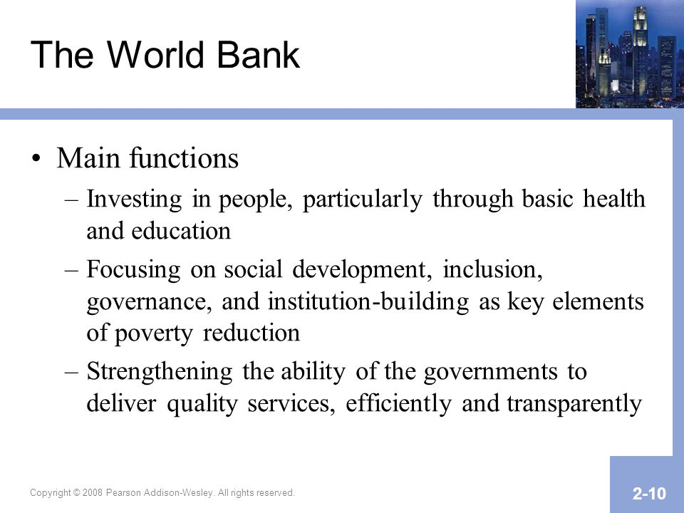 The World Bank Main functions
