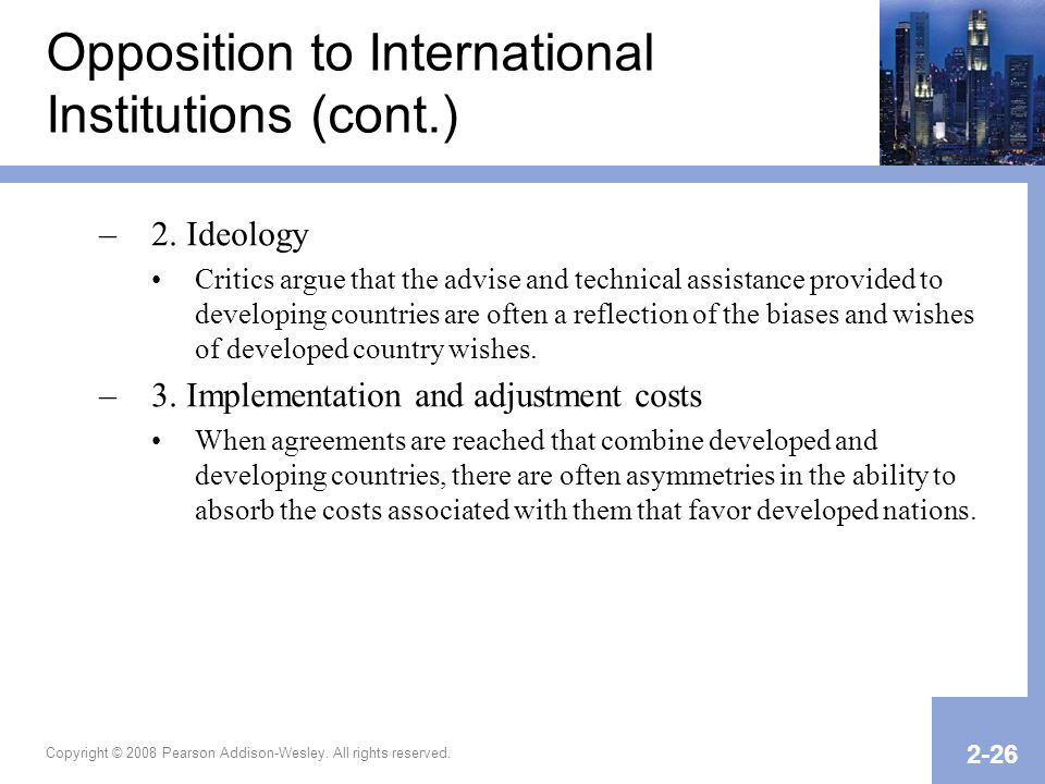 Opposition to International Institutions (cont.)