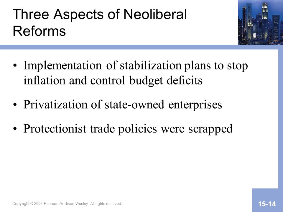 Three Aspects of Neoliberal Reforms