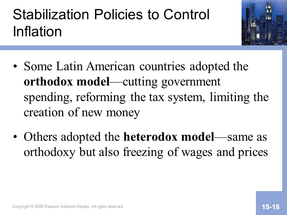 Stabilization Policies to Control Inflation
