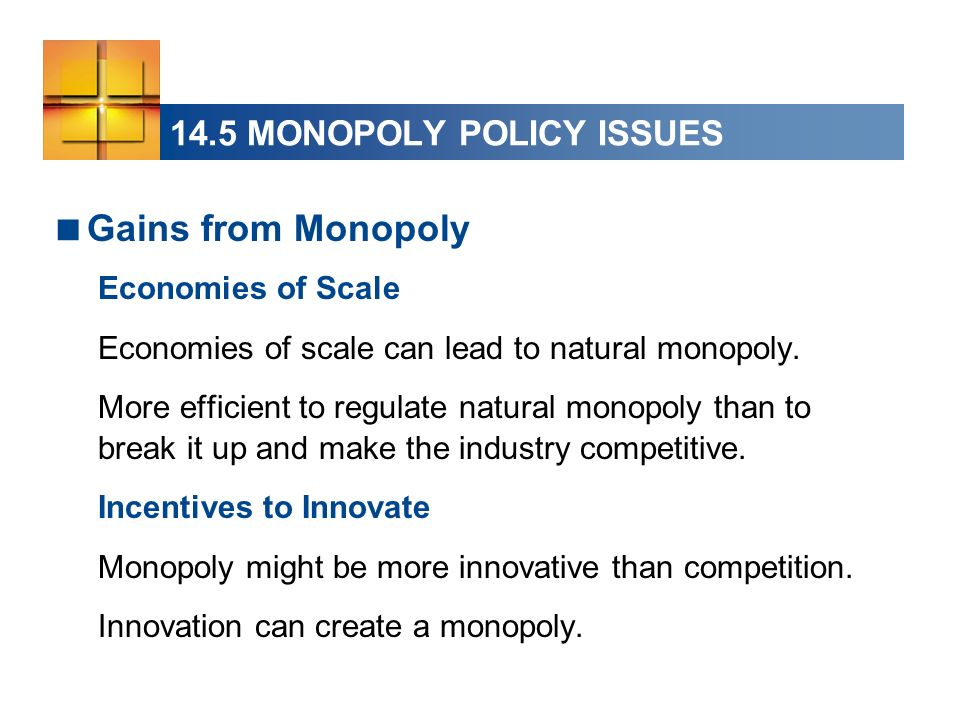 14.5 MONOPOLY POLICY ISSUES