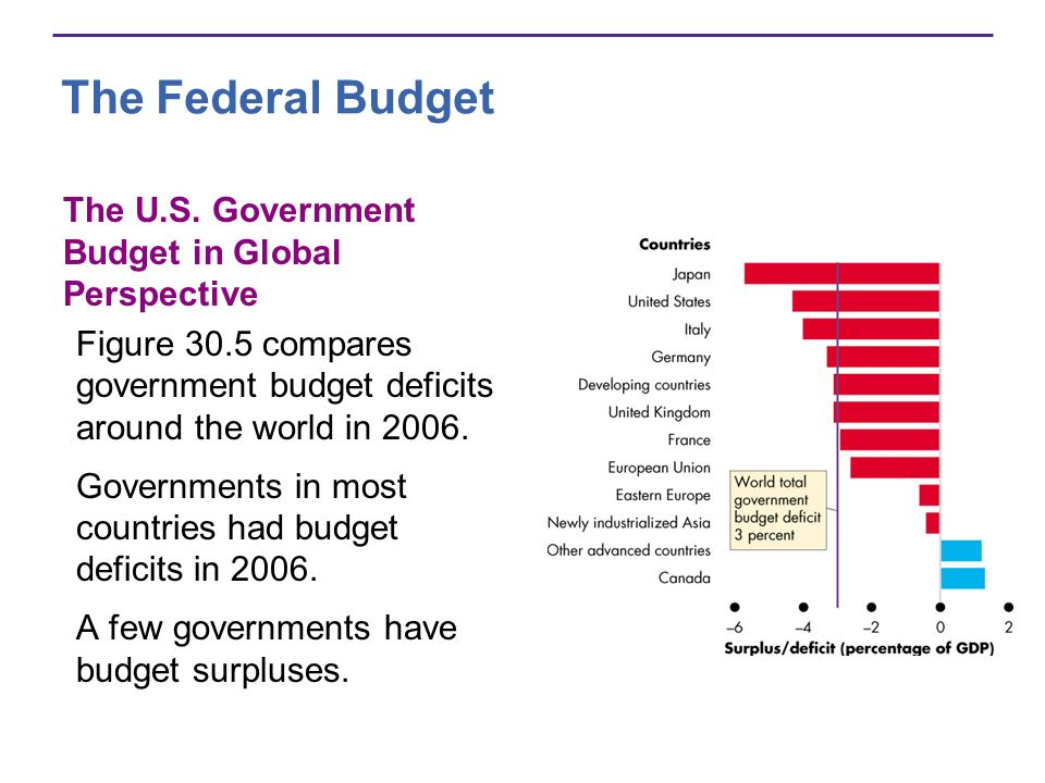 The Federal Budget The U.S. Government Budget in Global Perspective