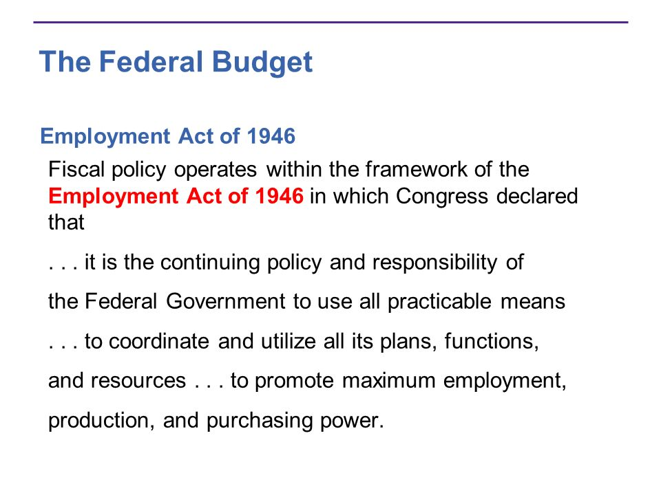 The Federal Budget Employment Act of 1946
