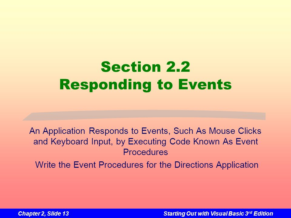 Section 2.2 Responding to Events