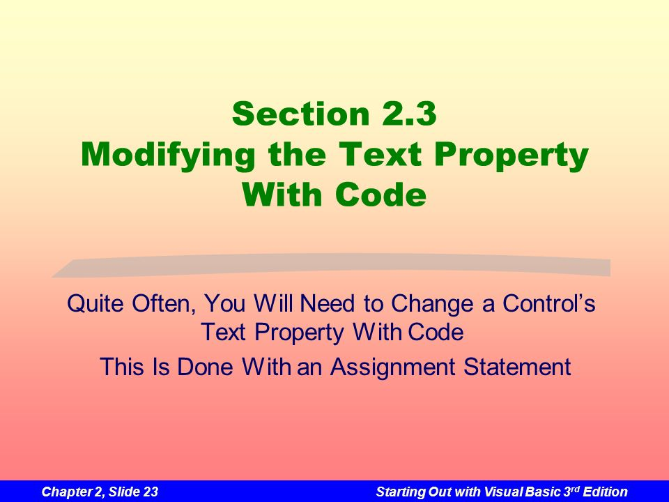 Section 2.3 Modifying the Text Property With Code