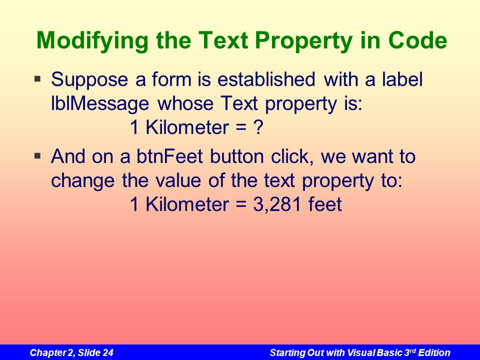Modifying the Text Property in Code