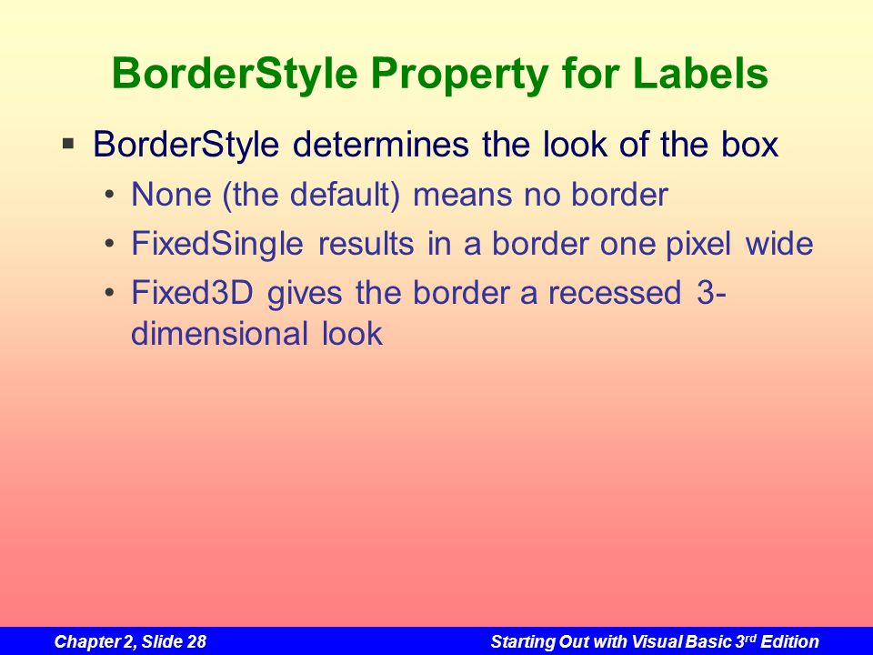 BorderStyle Property for Labels
