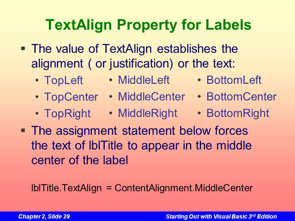 TextAlign Property for Labels