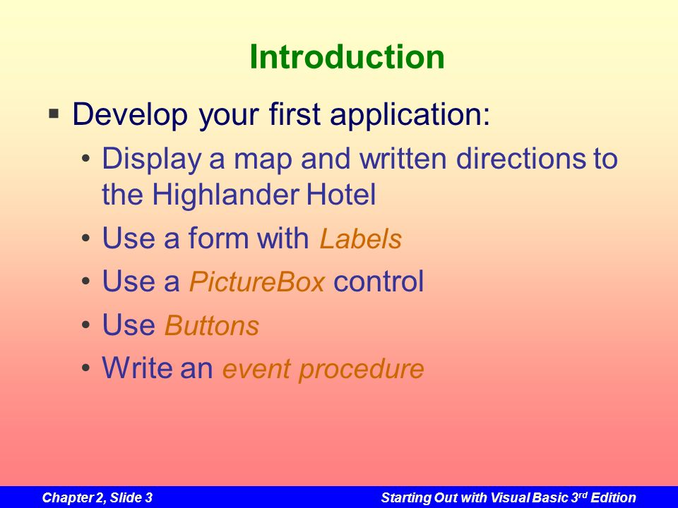 Introduction Develop your first application: