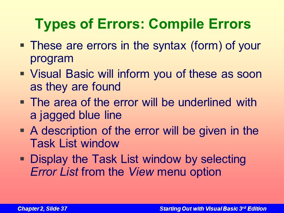 Types of Errors: Compile Errors