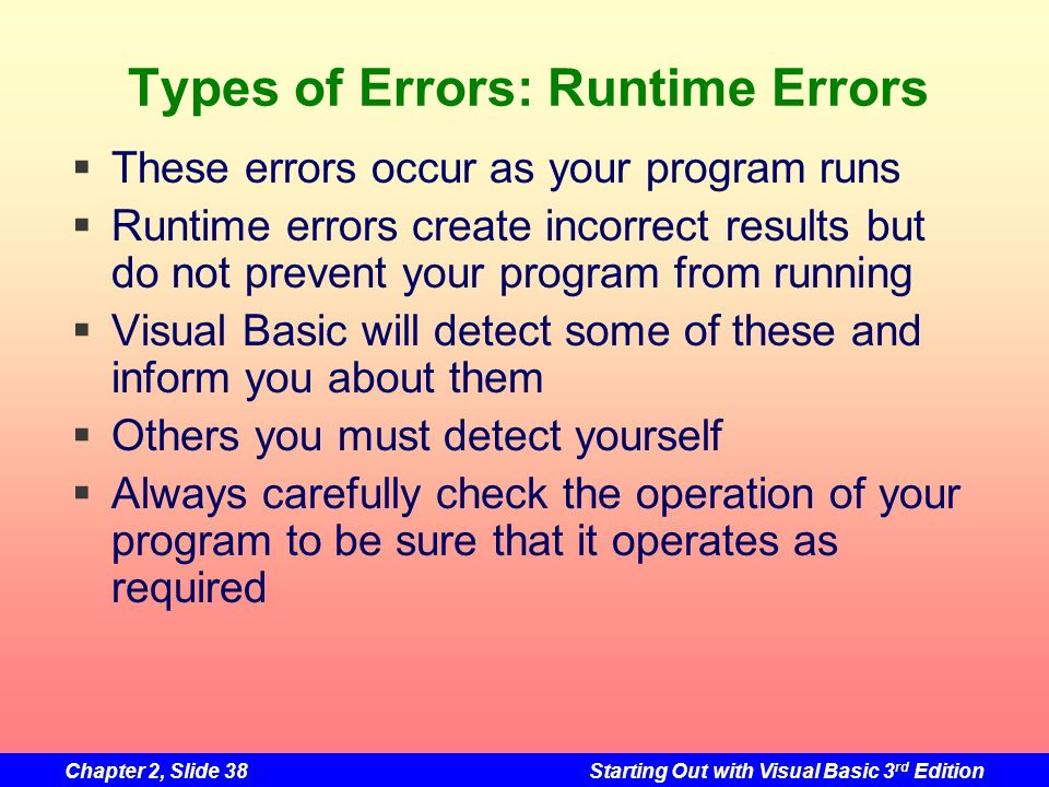 Types of Errors: Runtime Errors