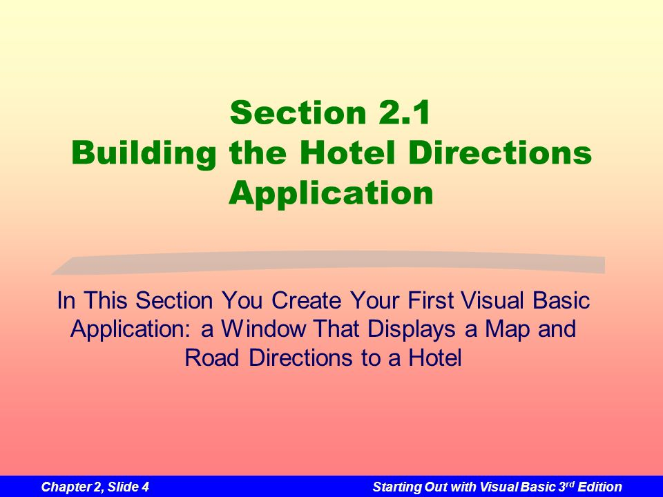 Section 2.1 Building the Hotel Directions Application