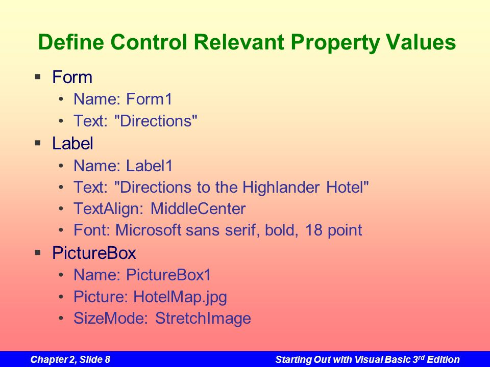 Define Control Relevant Property Values