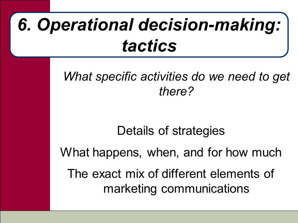 decisions operational decisions Operational decisions happen on the fly therefore any decision you make at work on a daya to day that affects what anyone at the work is an.