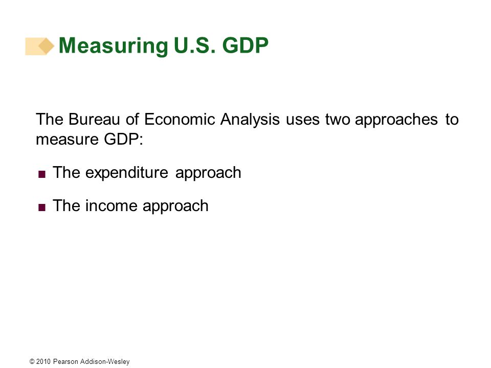Measuring U.S. GDP The Bureau of Economic Analysis uses two approaches to measure GDP: The expenditure approach.