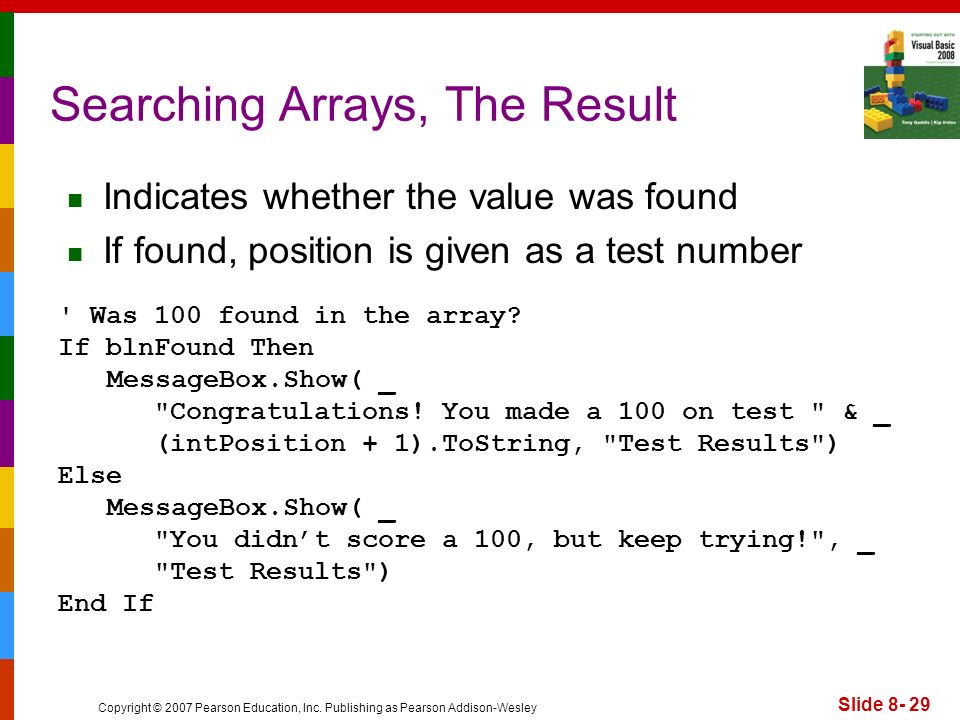 Searching Arrays, The Result