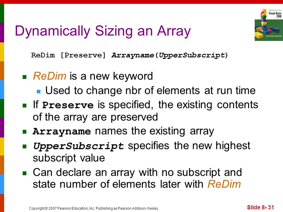 Dynamically Sizing an Array
