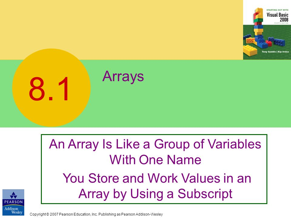 8.1 Arrays An Array Is Like a Group of Variables With One Name