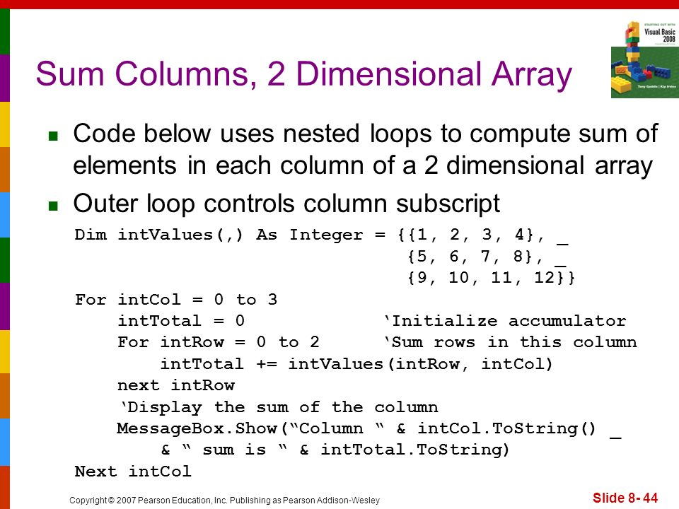 Sum Columns, 2 Dimensional Array