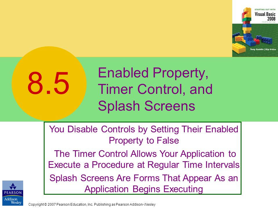 Enabled Property, Timer Control, and Splash Screens