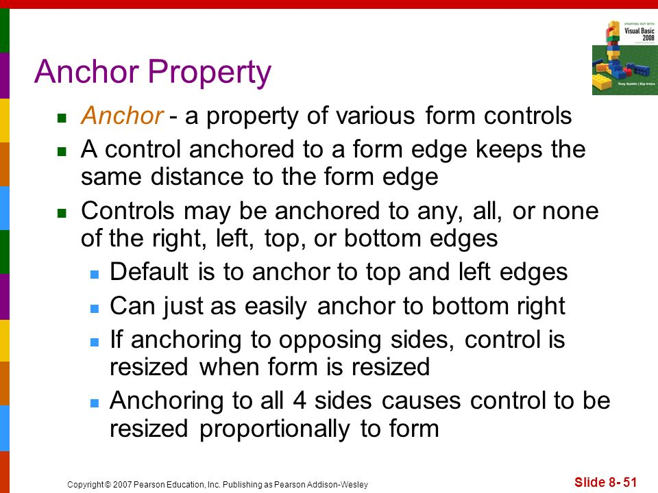 Anchor Property Anchor - a property of various form controls