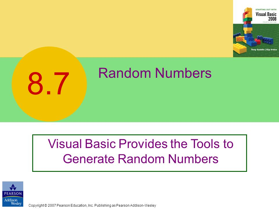 Visual Basic Provides the Tools to Generate Random Numbers
