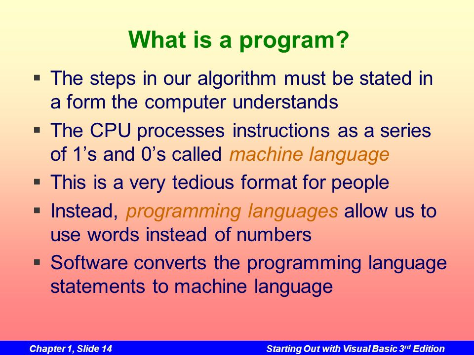 What is a program The steps in our algorithm must be stated in a form the computer understands.