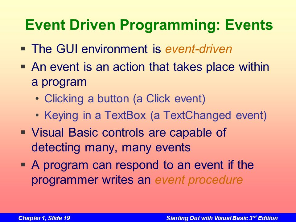 Event Driven Programming: Events