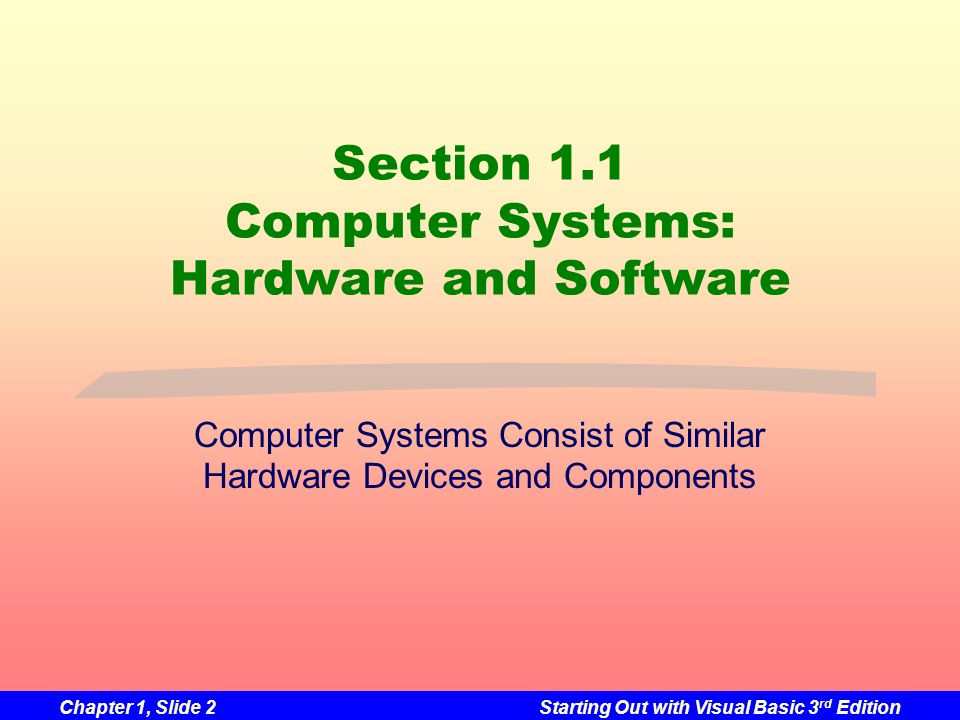 Section 1.1 Computer Systems: Hardware and Software