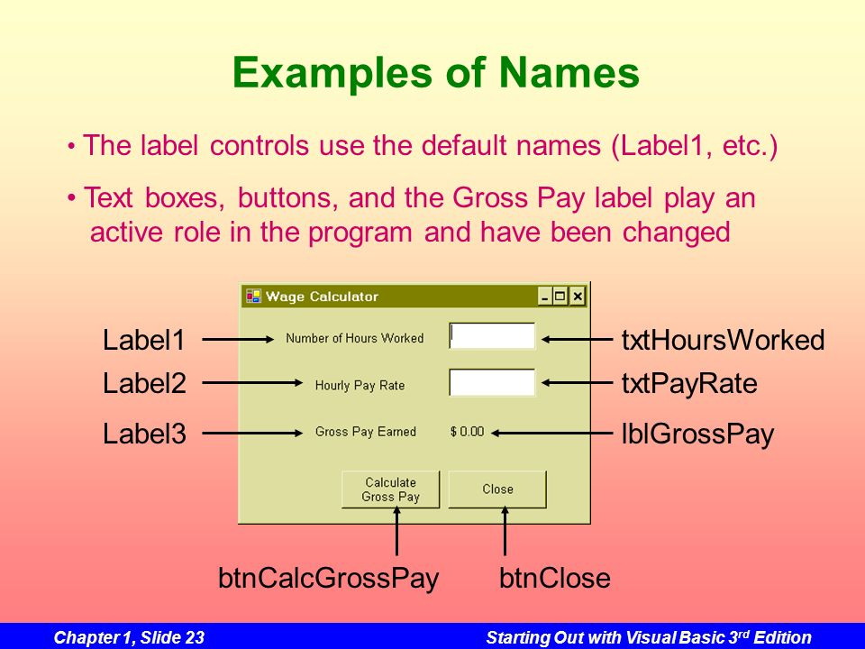 Examples of Names The label controls use the default names (Label1, etc.)