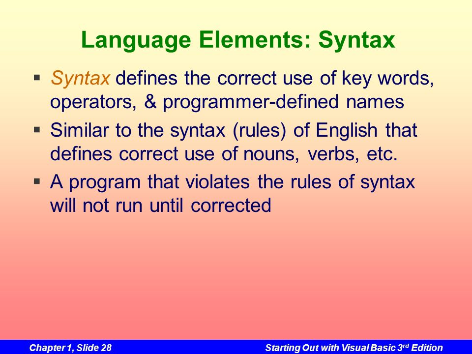 Language Elements: Syntax