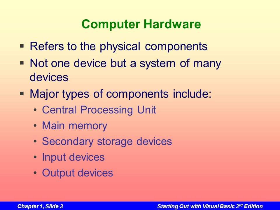 Computer Hardware Refers to the physical components