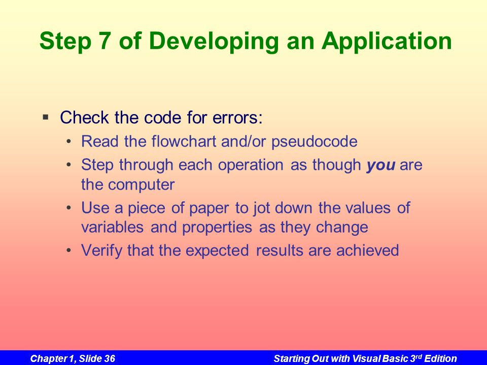 Step 7 of Developing an Application