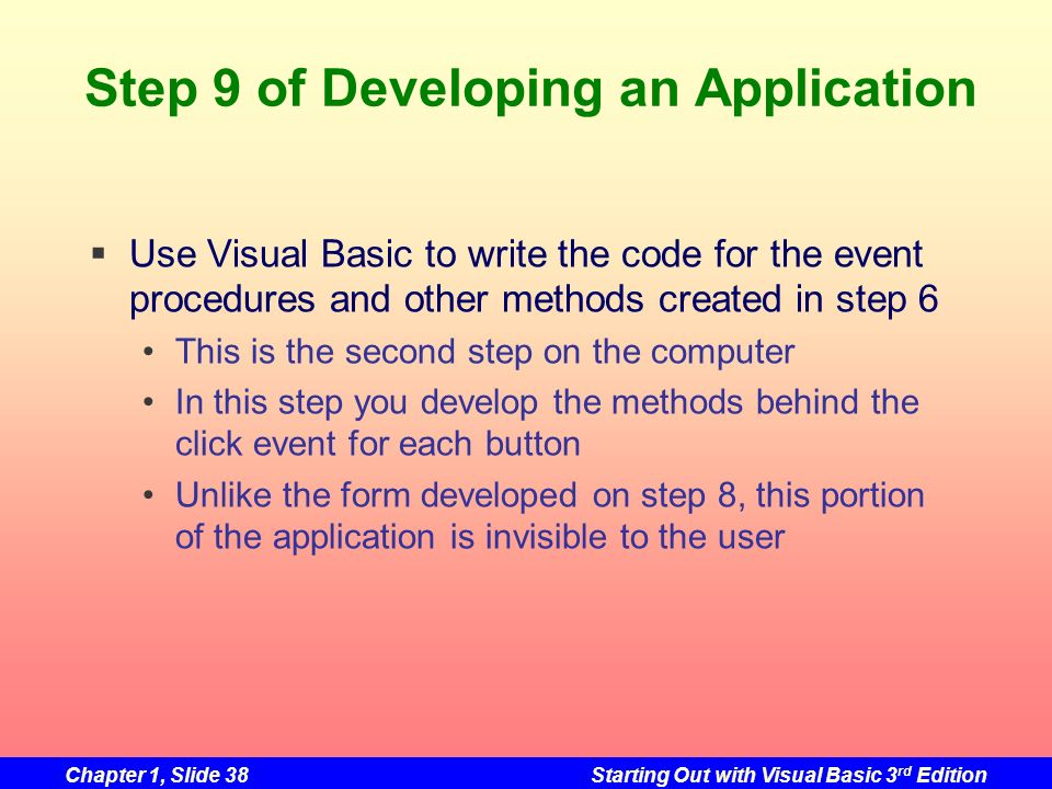 Step 9 of Developing an Application