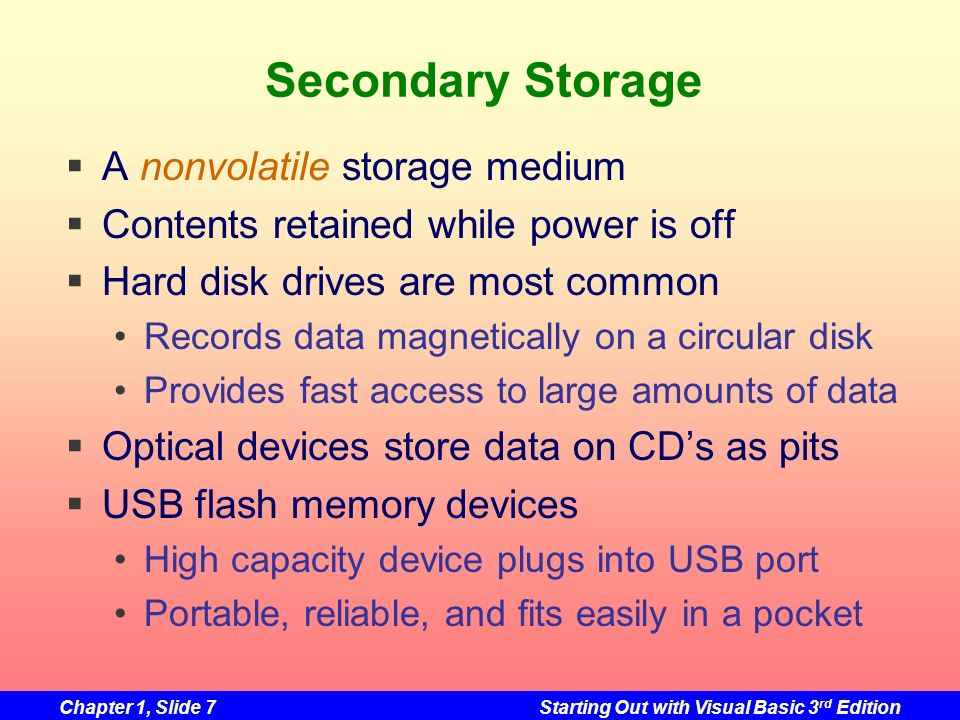 Secondary Storage A nonvolatile storage medium