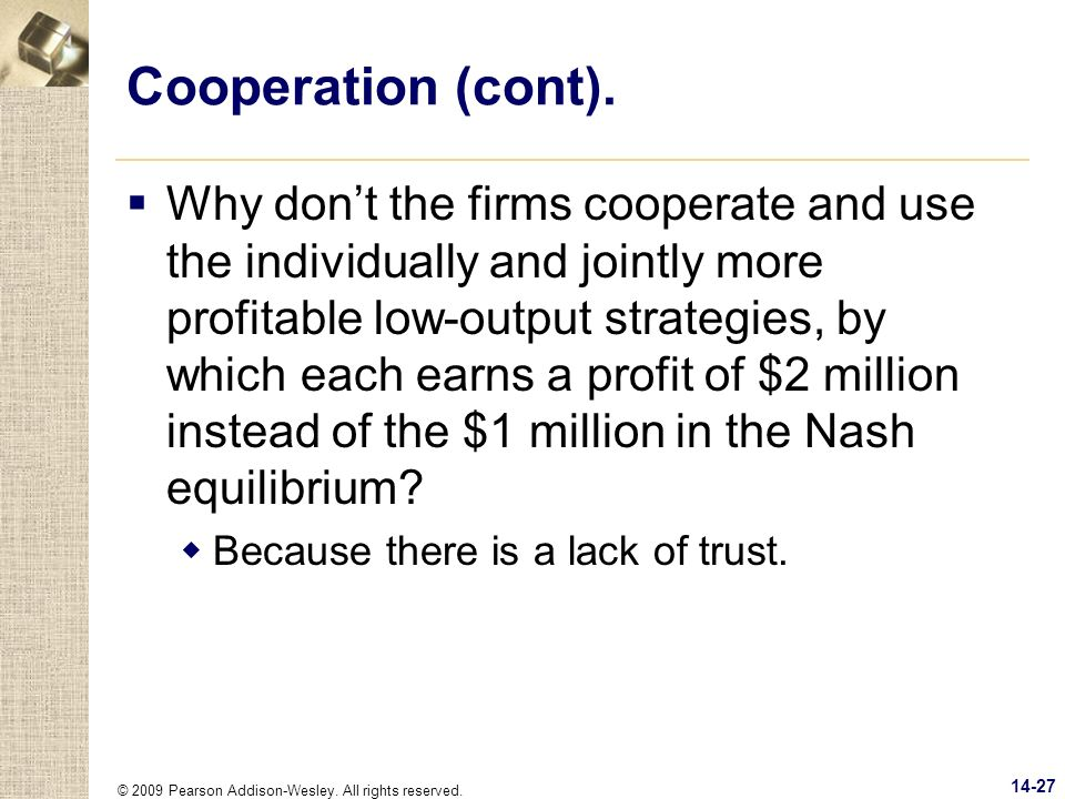 Cooperation (cont).