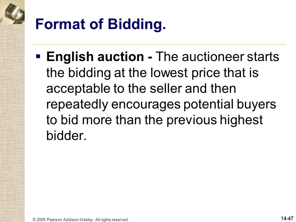 Format of Bidding.