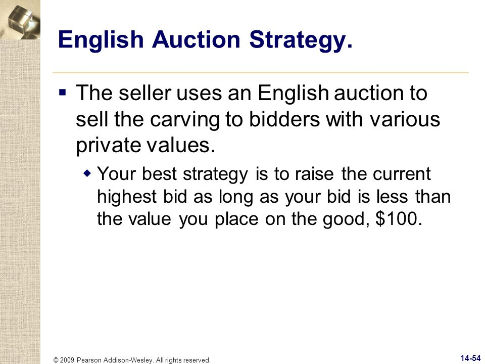 English Auction Strategy.