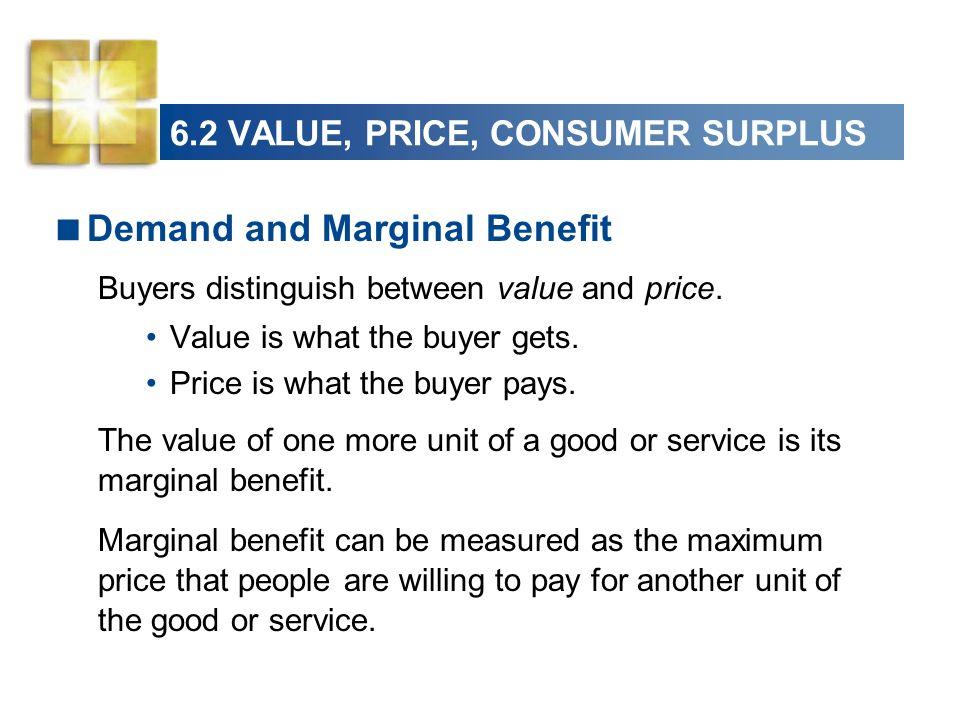6.2 VALUE, PRICE, CONSUMER SURPLUS