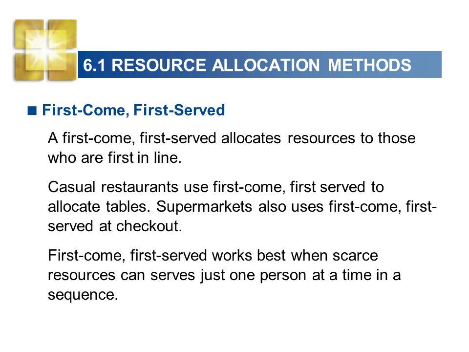 6.1 RESOURCE ALLOCATION METHODS