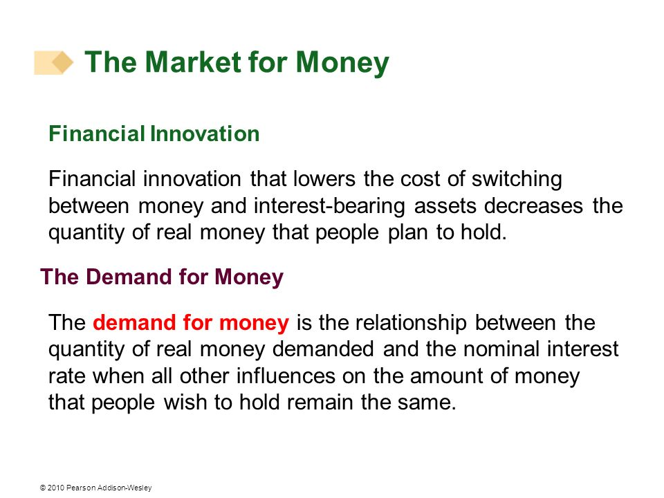 The Market for Money Financial Innovation