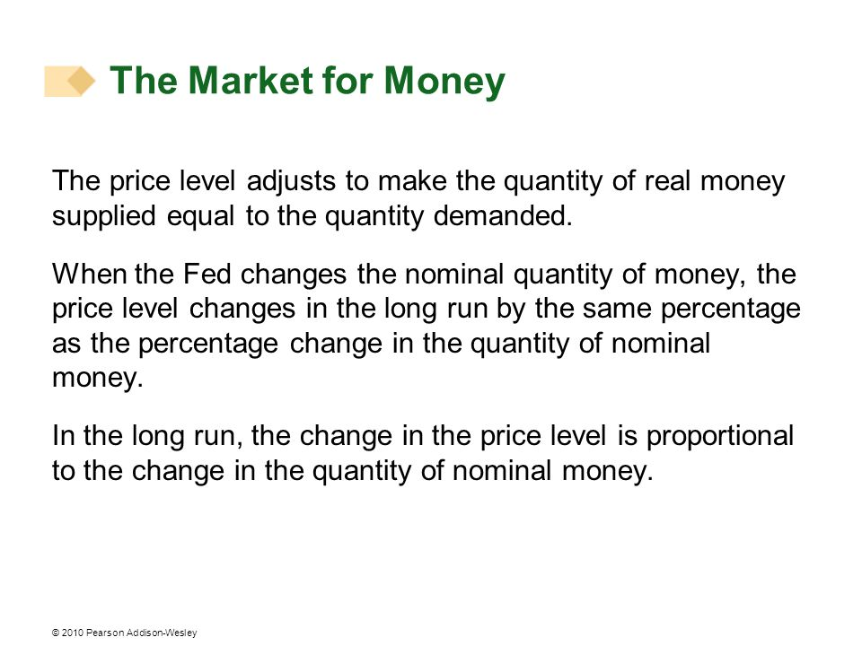 The Market for MoneyThe price level adjusts to make the quantity of real money supplied equal to the quantity demanded.