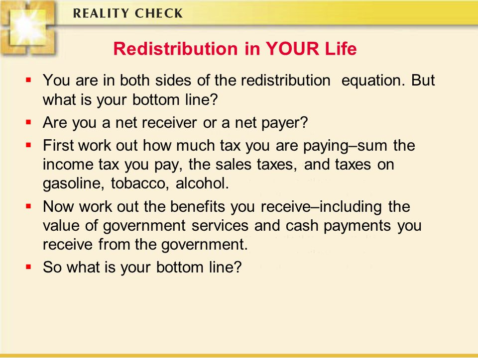 Redistribution in YOUR Life