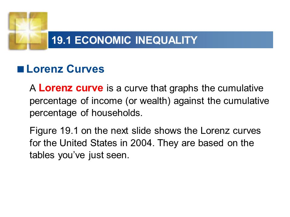 Lorenz Curves 19.1 ECONOMIC INEQUALITY