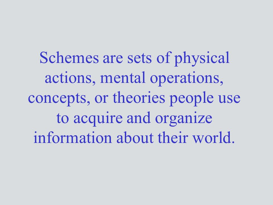 Schemes are sets of physical actions, mental operations, concepts, or theories people use to acquire and organize information about their world.