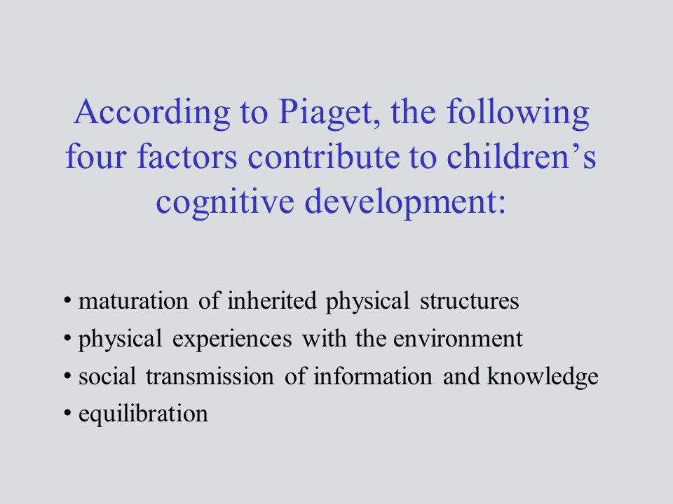 According to Piaget, the following four factors contribute to children's cognitive development: